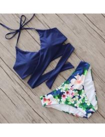 Sexy Blue Flower Pattern Decorated Bikini