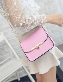 Fashion Pink Buckle Decorated Shoulder Bag