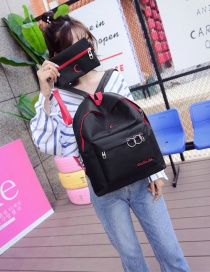 Fashion Black Circular Ring Decorated Backpack (2 Pcs)