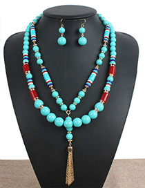 Fashion Green Tassel Decorated Double Layer Jewelry Set