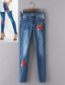Fashion Blue Flower Pattern Decorated Jeans