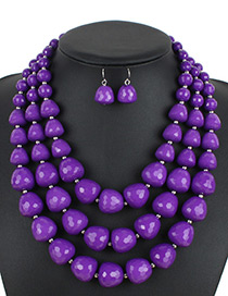 Bohemia Purple Beads Decorated Pure Color Jewelry Sets