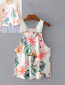 Fashion White Lotus Leaf&bird Decorated Simple Vest