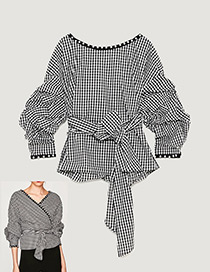 Fashion White+black Grid Pattern Decorated Long Sleeves Blouse(wear Both Sides)