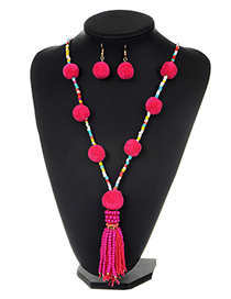 Fashion Plum Red Bead Decorated Pom Necklace