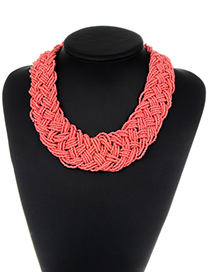Fashion Pink Pure Color Decorated Necklace