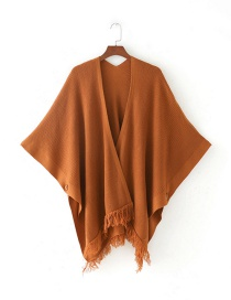 Fashion Orange Tassel Decorated Pure Color Cloak Shawl