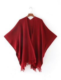 Fashion Red Tassel Decorated Pure Color Cloak Shawl