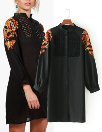 Fashion Black Butterfly Pattern Decorated Long Shirt