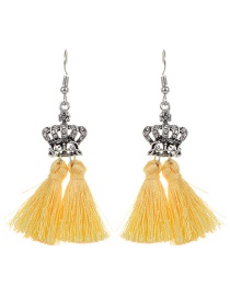 Fashion Yellow Crown&&tassel Decorated Earrings