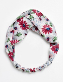Fashion Red Flower Pattern Decorated Hair Hoop