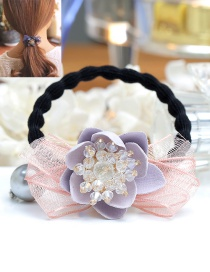 Fashion Light Purple Bowknot&flower Decorated Hair Band