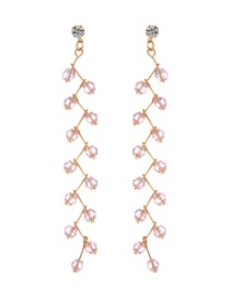 Fashion Pink Pearls Decorated Long Earrings
