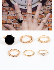 Fashion Gold Color Heart Shape Decorated Simple Ring Sets(6pcs)