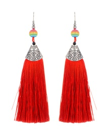Fashion Red Ball&tassel Decorated Long Earrings