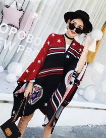 Fashion Black+red Cartoon Stars Pattern Decorated Shawl