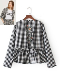 Fashion Black+white Grid Pattern Decorated Long Sleeves Coat