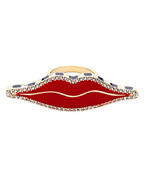 Elegant Red Lip Shape Decorated Simple Ring
