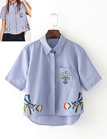 Fashion Blue+white Embroidery Flower Decorated Short Sleeves Shirt