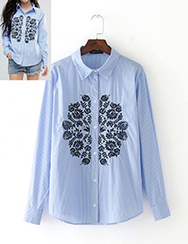 Fashion Blue Flower Pattern Decorated Long Sleeves Shirt