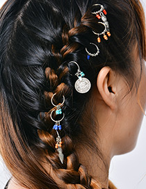 Fashion Multi-color Coins&beads Decorated Simple Hairpin