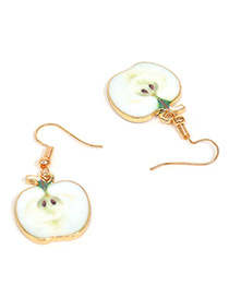 Sweet White Apple Pendant Decorated Short Earrings