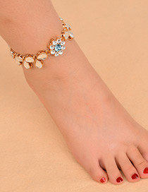 Vintage Gold Color Diamond Decorated Flower Shape Anklet(1pc)