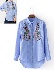 Fashion Blue Embroidery Flower Decorated Long Sleeves Shirt