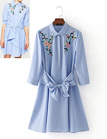 Fashion Blue+white Bowknot Decorated Long Sleeves Dress