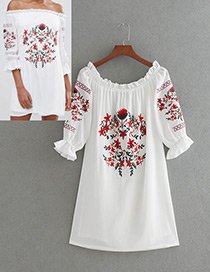 Vintage White Off The Shoulder Decorated Dress