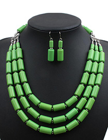Fashion Green Cylindrical Shape Decorated Pure Color Jewelry Sets