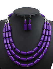 Fashion Purple Cylindrical Shape Decorated Pure Color Jewelry Sets
