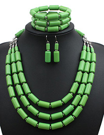 Fashion Green Pure Color Decorated Multi-layer Jewelry Sets