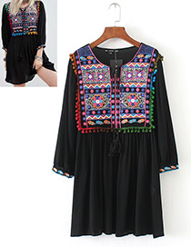 Trendy Black Round Neckline Design Embroidery Dress