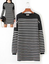 Trendy Black+white Stripe Pattern Decorated Round Neckline Long Sweater