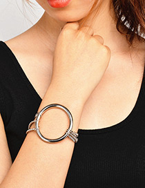 Trendy Silver Color Circular Ring Decorated Pure Color Bracelet