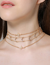 Elegant Gold Color Pure Color Decorated Multi-layer Choker