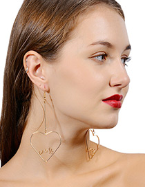 Fashion Gold Color Heart Shape Decorated Long Earrings