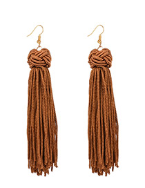 Vintage Coffee Long Tassel Decorated Pure Color Earrings