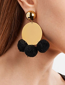 Bohemia Black Fuzzy Ball Decorated Pom Earrings