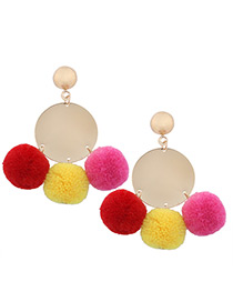 Bohemia Multi-color Fuzzy Ball Decorated Pom Earrings