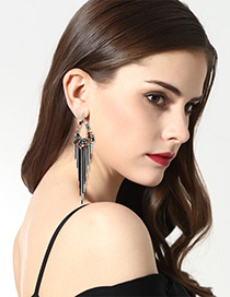 Elegant Black+white Oval Shape Decorated Tassel Earrings