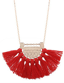 Bohemia Red Fan Shape Decorated Necklace
