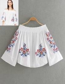 Fashion White Flower Decorated Off The Shoulder Shirt