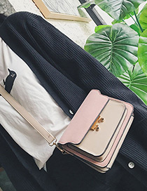 Fashion Pink Color-matching Decorated Multilayer Bag