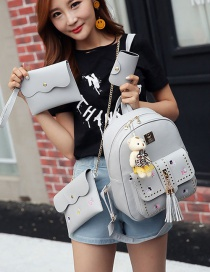 Fashion Gray Tassel&rivet Decorated Pure Color Backpack (2pcs)