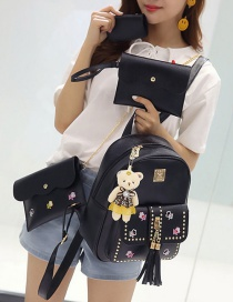 Fashion Black Tassel&rivet Decorated Pure Color Backpack (2pcs)