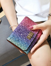 Fashion Multi-color Square Shape Buckle Decorated Purse