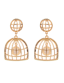 Fashion Gold Color Pearls Decorated Hollow Out Earrings