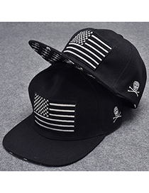 Trendy Black Flag Pattern Decorated Hip-hop Cap(adjustable)